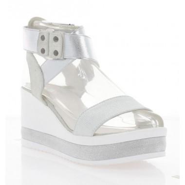 Купити Босоніжки жіночі білі/срібні, шкіра (3125 срібна Шк) Roma style за найкращими цінами