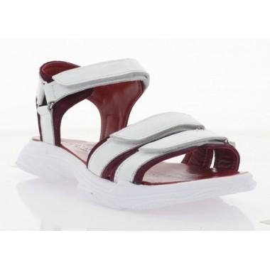 Босоніжки жіночі білі/бордові, шкіра/замш (3129 біла Шк/борд Зш) Roma style