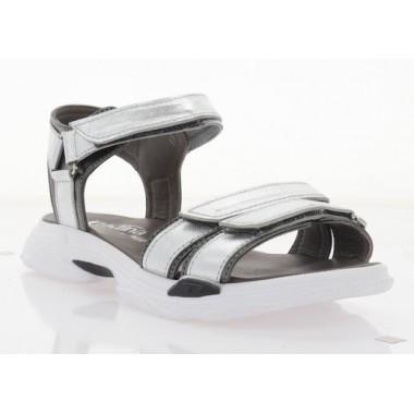 Босоніжки жіночі срібні/графіт, шкіра (3129 срібна Шк_графіт) Roma style