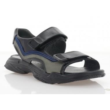 Купить Босоножки подростковые черные/синие/серые, кожа/нубук (3130 П чн. Шк) Roma style по лучшим ценам