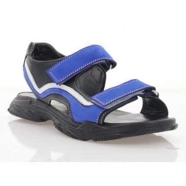 Босоніжки підліткові чорні/голубі/білі, шкіра/нубук (3130 П чн. Шк/сн. Нб/біл ) Roma style