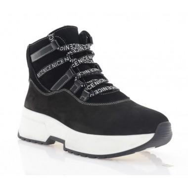 Ботинки женские черные/белые, нубук (3200 чн. Нб (шерсть)) Roma style