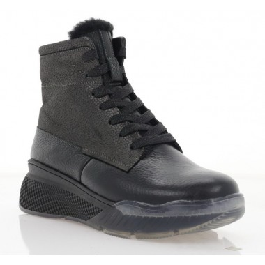 Ботинки женские черные, кожа (3201 чн. Фл (шерсть)) Roma style