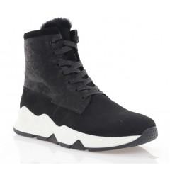 Ботинки женские черные, нубук (3201 чн. Нб (шерсть)) Roma style