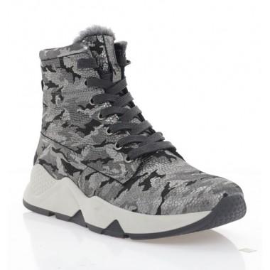 Купить Ботинки женские черные/серебряные, кожа (3201 срібн. Фл (шерсть)) Roma style по лучшим ценам