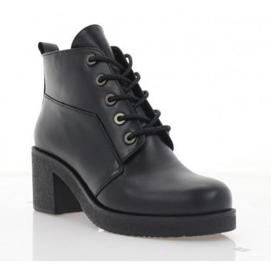 Ботинки женские черные, кожа (3202 чн. Шк (шерсть)) Roma style