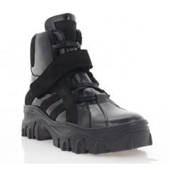 Ботинки женские черные, кожа/замша (3205 чн. Шк+Зш (шер)) Roma style