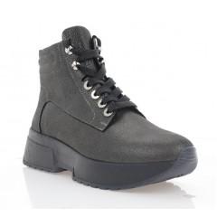 Ботинки женские черные, кожа (3206 сатин Фл (шер)) Roma style