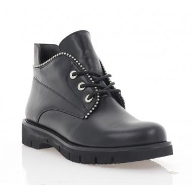 Ботинки женские черные, кожа (3211 чн. Шк (байка)) Roma style