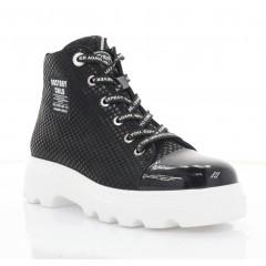 Ботинки женские черные, лакированная кожа/кожа (3213-20 чн. Шк+Лк(байка)) Roma style