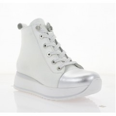 Ботинки женские белые/серебряные, кожа (3213 біл. Фл_срібн (бай)) Roma style