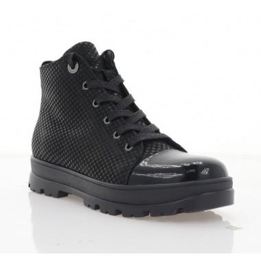 Купить Ботинки женские черные, лакированная кожа/кожа (3213 чн. ЛЗРК (бай)) Roma style по лучшим ценам