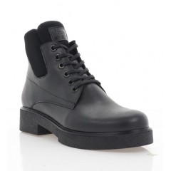 Ботинки женские черные, кожа (3214/1 чн. Шк (шерсть)) Roma style