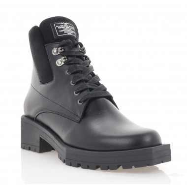 Ботинки женские черные, кожа (3214-20 чн. Шк (шерсть)) Roma style