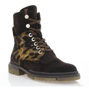 Ботинки женские коричневые/леопард, замша (3215 кор. Зш_лео (шер)) Roma style