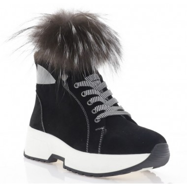 Ботинки женские черные, замша/мех чорнорбурки (3217 чн. Зш/ПУХ (шер))) Roma style