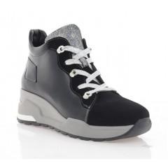 Кросівки жіночі чорні/срібні, шкіра/замш (3218 чн. Шк+Зш (бай)) Roma style