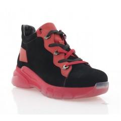 Кросівки жіночі чорні/червоні, шкіра/замш (3218 чн. Зш_черв (бай)) Roma style