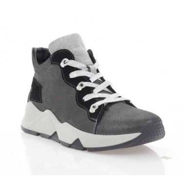Кросівки жіночі сірі/чорні/срібні, шкіра/замш (3218 сатин Фл (бай)) Roma style