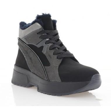 Ботинки женские черные, кожа/нубук (3220 чн. Нб (шерсть)) Roma style