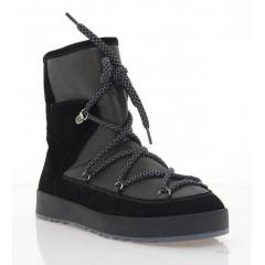 Ботинки женские черные, кожа/замша (3223 чн. Зш+Бронз (шер)) Roma style