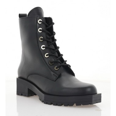 Ботинки женские черные, кожа (3225-20 чн. Шк (шерсть)) Roma style