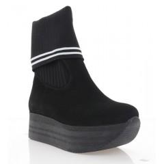 Ботинки женские черные, замша (3227 чн. Зш (байка)) Roma style