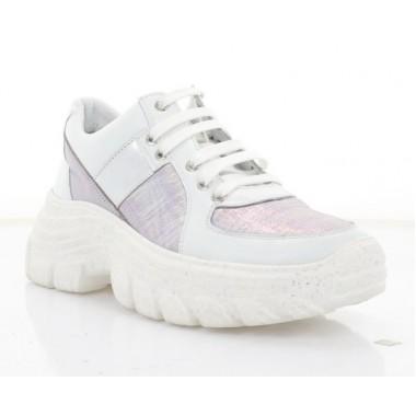 Кросівки жіночі білі/бузкові/срібні, шкіра (3230 біл. Шк_срібн) Roma style