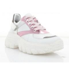 Кросівки жіночі білі/рожеві/срібні, шкіра (3234 біл. Шк) Roma style