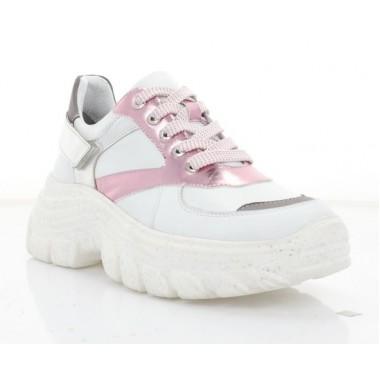 Купить Кроссовки женские белые/розовые/серебряные, кожа (3234 біл. Шк) Roma style по лучшим ценам