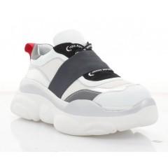 Кросівки жіночі білі/сірі, шкіра (3236/1 біл/сір Шк+чн. Зш) Roma style