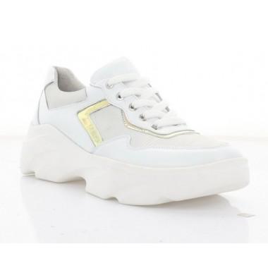 Кросівки жіночі білі, шкіра (3240 біл. Шк_срібн) Roma style