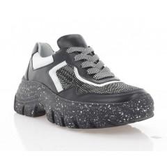Кросівки жіночі чорні/срібні, шкіра (3240 чн. Шк_срібн) Roma style