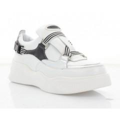 Кросівки жіночі білі/срібні/чорні, шкіра (3245 біл/срібн. Шк) Roma style