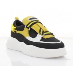 Кроссовки женские черные/желтые/белые, кожа/нубук (3245 чн/жовт. Нб) Roma style