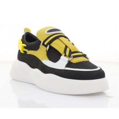 Купить Кроссовки женские черные/желтые/белые, кожа/нубук (3245 чн/жовт. Нб) Roma style по лучшим ценам