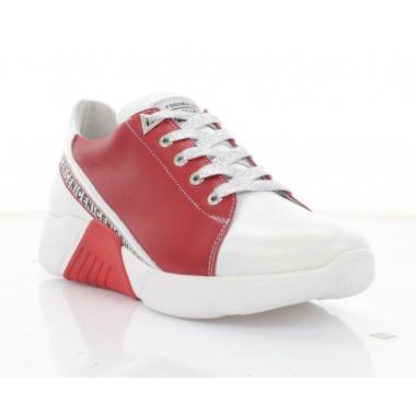 Кросівки жіночі білі/червоні, шкіра (3246 біл. Шк_черв) Roma style