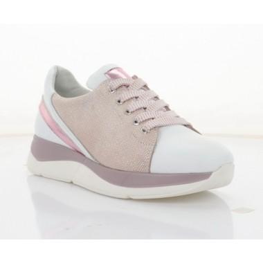 Кроссовки женские белые/розовые, кожа (3246 біл. Шк_рож) Roma style