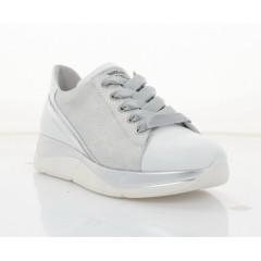Кросівки жіночі білі/срібні, шкіра (3246 біл. Шк_срібн) Roma style