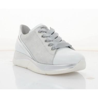 Купити Кросівки жіночі білі/срібні, шкіра (3246 біл. Шк_срібн) Roma style за найкращими цінами