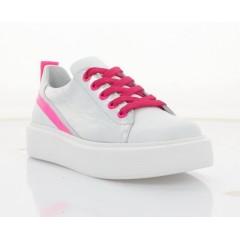Кеди дитячі, для дівчаток, білі/срібні/рожеві, шкіра (3246 М біл. Шк_рож) Roma style