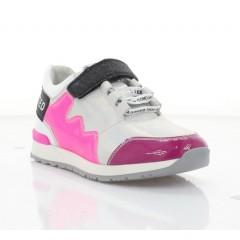 Кросівки дитячі, білі/рожеві, шкіра/лакована шкіра (3250 М біл. Шк+мал. Лк) Roma style