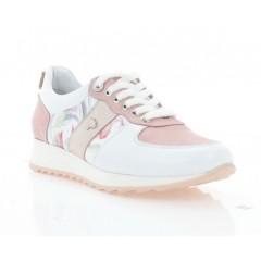 Кросівки жіночі рожеві/білі, шкіра (3254 біло/рож. Шк) Roma style