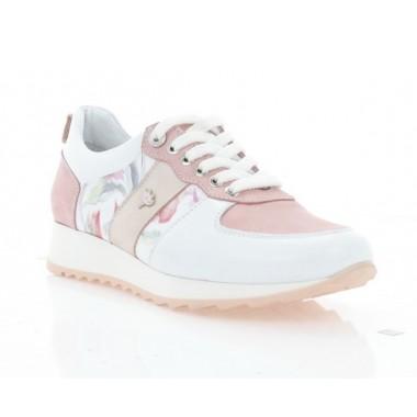 Кроссовки женские розовые/белые, кожа (3254 біло/рож. Шк) Roma style