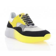 Кросівки жіночі жовті/чорні/срібні, замш/шкіра (3259 чорн. Зш_жовт) Roma style