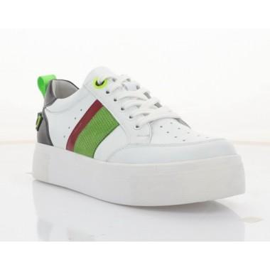 Кеди жіночі білі/чорні/зелені, шкіра (3261 біл. Шк+зел) Roma style