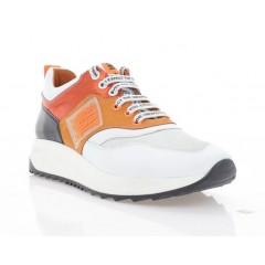 Кросівки жіночі білі/оранжеві/чорні, шкіра/нубук (3262 біл. Шк_оранж) Roma style