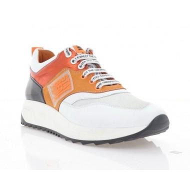 Кроссовки женские белые/оранжевые/черные, кожа/нубук (3262 біл. Шк_оранж) Roma style