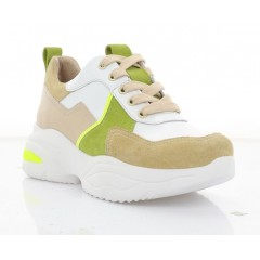 Кросівки жіночі білі/бежеві/салатові, шкіра/замш (3263 беж. Зш_салат вст) Roma style