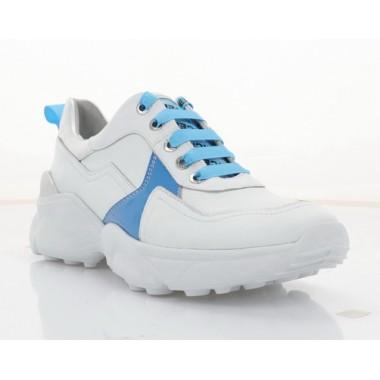 Кроссовки женские белые/голубые, кожа (3263 біл+гол. Шк) Roma style